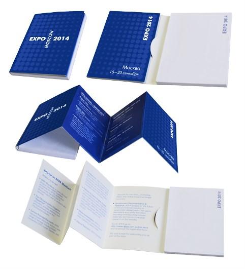 Блок 100х75 мм в складной рекламной обложке