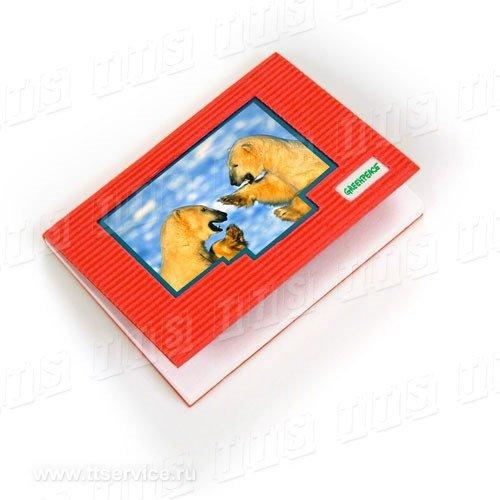 """Блок 100х75 мм в гофрированной обложке с рекламным """"окном"""""""