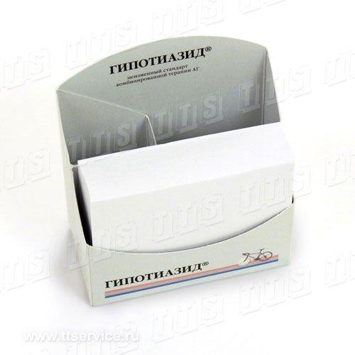 Бумажный блок 9х7,4х2 см в картонном диспенсере -трансформере