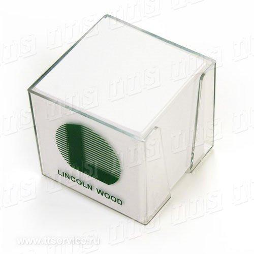 Бумажный блок 9х9х9 см в пластиковом диспенсере