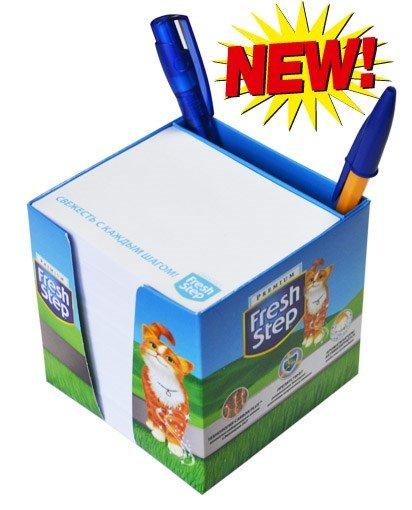 Блок в картонном боксе с отделением для ручек