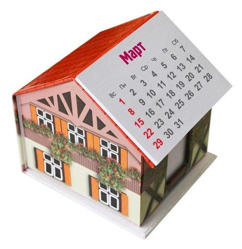 """Диспенсер """"домик"""" с блоком 10х9х7 см и календарем"""