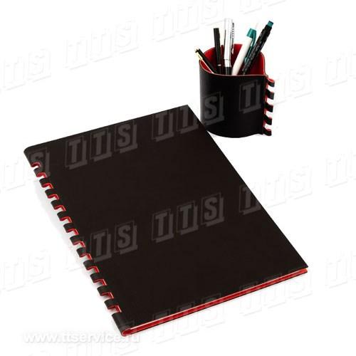 (Арт. 2553) - подставка под ручки 9x8 см (Арт. 2554) - Ежедневник формат А4 с вырубной обложкой.