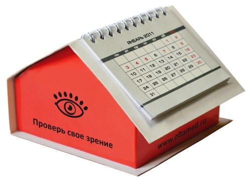 Блок 9х9х3 см в картонном боксе «Домик» с перекидным календарем